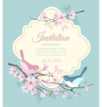 Wedding invitation with birds and flowering