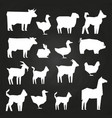 white farm animals silhouetes icons on black vector image