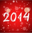 White new year 2014 on red background vector image vector image