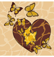 with a broken heart and butterflies vector image