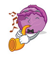 with trumpet red cabbage mascot cartoon vector image vector image