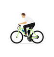 young man rides on bike isolated vector image vector image
