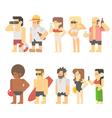 Flat design of beach people vector image