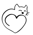 High quality of cat in shape of heart vector image