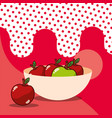 apple in bowl harvest fruit tasty dotted vector image