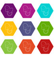 baby pacifier icons set 9 vector image vector image