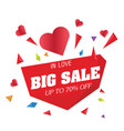 big sale in love up to 70 off big heart im vector image vector image