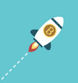 bitcoin space rocket flying vector image