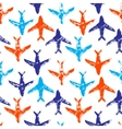 Blue orange and white flying planes grunge print vector image vector image