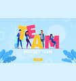 business people characters building word team vector image
