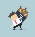 businessman shoulder tax box with money bag vector image vector image