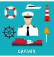 Captain profession and nautical flat icons vector image vector image