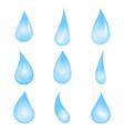 cartoon blue water drop set vector image vector image