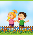 children eating ice cream in garden vector image vector image