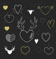 collection hand drawn hearts vector image vector image