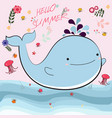cute whate and jellyfish cartoon for summer time vector image