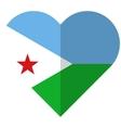 Djibouti flat heart flag vector image vector image