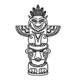 Doodle Traditional Tribal Totem Pole isolated on vector image