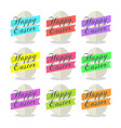 egg with ribbon and text happy easter set vector image vector image