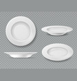 food white plate empty plate top view dish bowl vector image