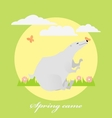 Fresh spring card with white bear butterfly vector image