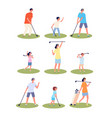 golf players characters men women playing vector image
