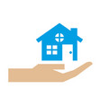 hand holding home house protection symbol vector image