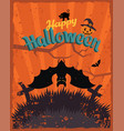 happy halloween vintage poster bat and spider vector image vector image
