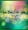 hello summer banner lettering text palm view vector image