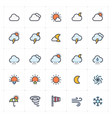 icon set - weather and forecast full color vector image vector image