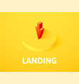 landing isometric icon isolated on color vector image vector image