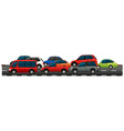 Many cars on the road vector image vector image