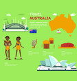 map of the australia and landmark icons for vector image vector image