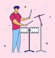 modern flat cartoon character musical band drummer vector image vector image