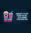 neon glowing sign of pop corn and soda with vector image vector image