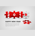 new year card made from red and white puzzle vector image vector image