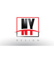 ny n y logo letters with red and black colors and vector image vector image