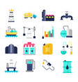 oil industry flat icons vector image