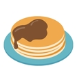 Pancakes on plate isometric 3d icon vector image vector image