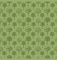 pattern with trees and bushes on green background vector image