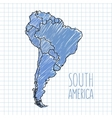 pen hand drawn South America map on paper vector image vector image