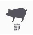 Pig silhouette Pork meat Butcher shop logo vector image vector image
