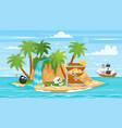 pirate ship islan treasure chest vector image vector image