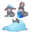 Playful hare frozen in the snow three images vector image vector image