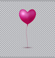 realistic heart balloon on transparent background vector image