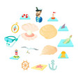 sea icons set cartoon style vector image vector image