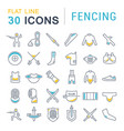 set line icons fencing vector image