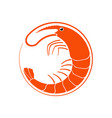 shrimp logo in flat style vector image vector image