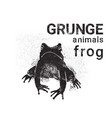 silhouette frog in grunge design style animal icon vector image vector image