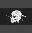 skull girl poster vintage woman vector image